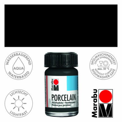 Marabu Porcelain - Porcelánfesték 15ml - Black- 073