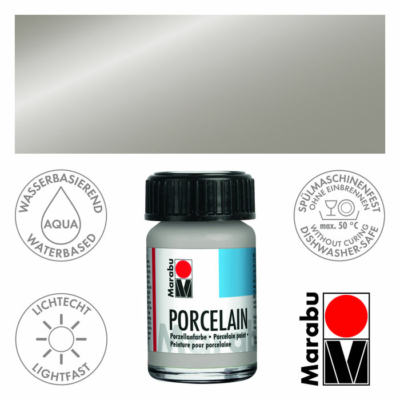 Marabu Porcelain - Porcelánfesték 15ml - Metallic-Silver - 782