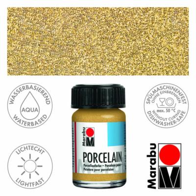 Marabu Porcelain - Porcelánfesték 15ml - Glitter-Gold - 584