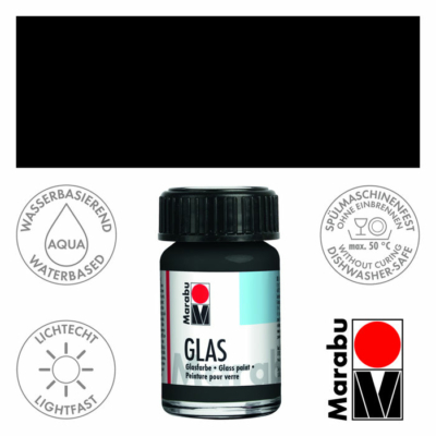 Marabu Glas üvegfesték 15ml - Black - 073