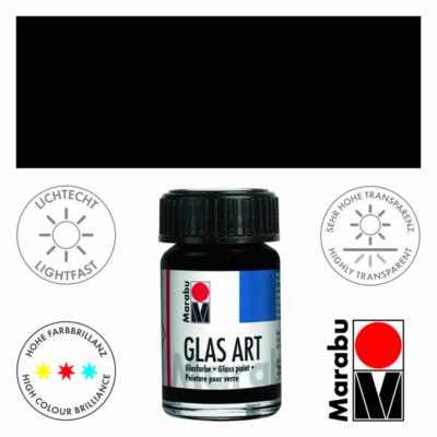 Marabu Glas-Art üvegfesték 15ml - Black - 473