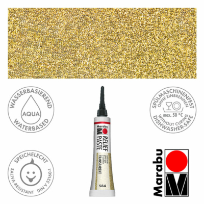 Marabu Relief Paste - Üvegkontúrozó 20ml - Glitter-Gold - 584