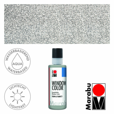 Marabu Window Color Fun & Fancy – Üvegmatrica festék - Glitter-Silver - 582