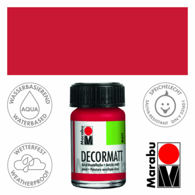 Marabu Decormatt - Matt akrilfesték 15 ml - Cherry Red - 031