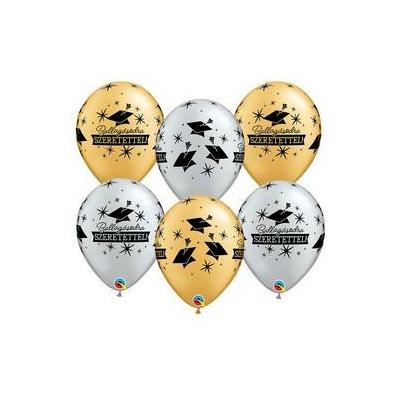 11 inch-es Ballagásodra Szeretettel Diplomakalap Mintás Arany & Ezüst Lufi 6 db