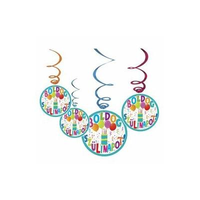 Boldog Szülinapot Jamboree Parti Spirális Függő Dekoráció - 6 db-os