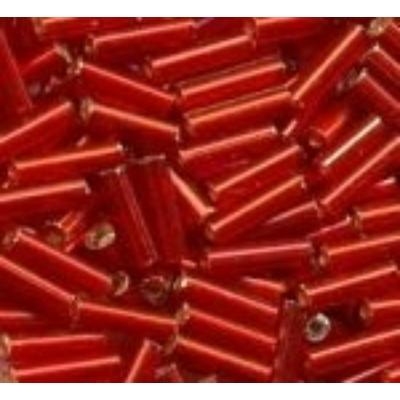Ezüstközepű piros szalmagyöngy, 7mm