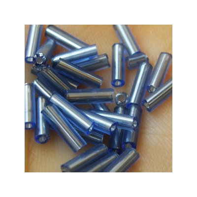 Ezüstközepű antik kék szalmagyöngy, 7mm
