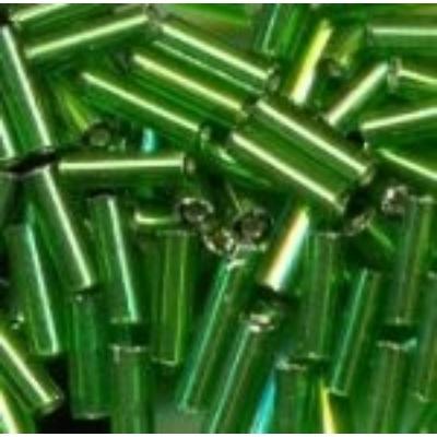 Ezüstközepű sötétzöld szalmagyöngy, 7mm