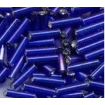 Ezüstközepű sötétkék szalmagyöngy, 7mm