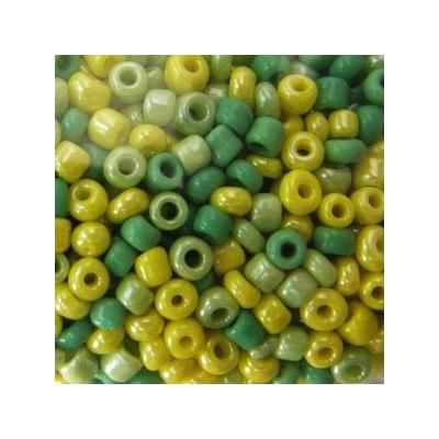 Színmix zöld-sárga kásagyöngy színmix, 2mm